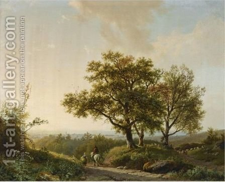 Travellers And A Shepherd In An Extensive Landscape Near Nijmegen by Barend Cornelis Koekkoek - Reproduction Oil Painting