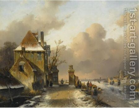 Figures On A Frozen Waterway 3 by Charles Henri Leickert - Reproduction Oil Painting