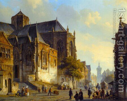 Figures On A Market Square In A Dutch Town by Cornelis Springer - Reproduction Oil Painting