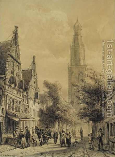 Figures In The Westerstraat With The Westerkerk In The Distance, Enkhuizen by Cornelis Springer - Reproduction Oil Painting