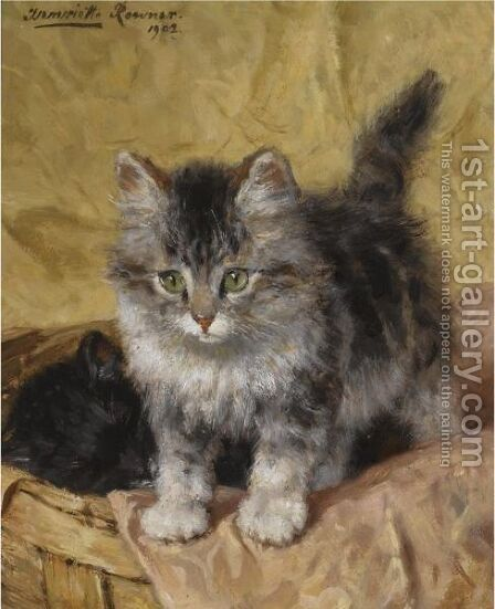 Two Kittens In A Basket by Henriette Ronner-Knip - Reproduction Oil Painting