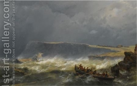 A Ship Wreck Off The Coast by Hermanus Koekkoek - Reproduction Oil Painting