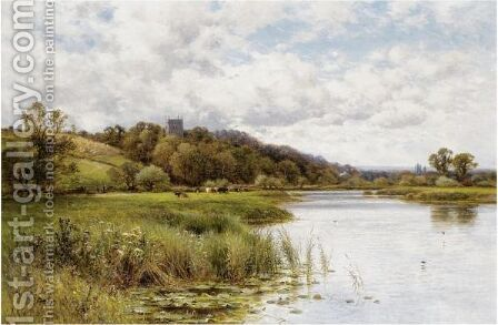 Cattle Grazing In A River Landscape With A Church Beyond by Alfred Glendening - Reproduction Oil Painting