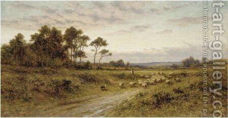 Shepherd With His Flock At Sunset by Alfred Glendening - Reproduction Oil Painting