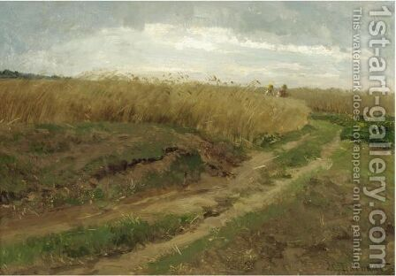 A Cornfield With Two Workers Walking Along A Path by Hugo Darnaut - Reproduction Oil Painting