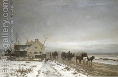 The Long And Wintery Road by Anders Anderson-Lundby - Reproduction Oil Painting
