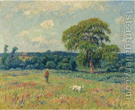 Paysage Au Chasseur Et Son Chien by Henri Moret - Reproduction Oil Painting