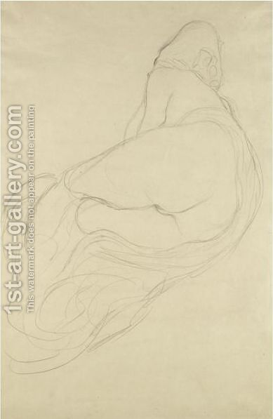 Ruckenhalbakt Nach Links (Semi-Nude, Back View Facing Left) by Gustav Klimt - Reproduction Oil Painting