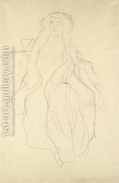 Sitzende Von Vorne (Seated Woman, Frontal View) by Gustav Klimt - Reproduction Oil Painting