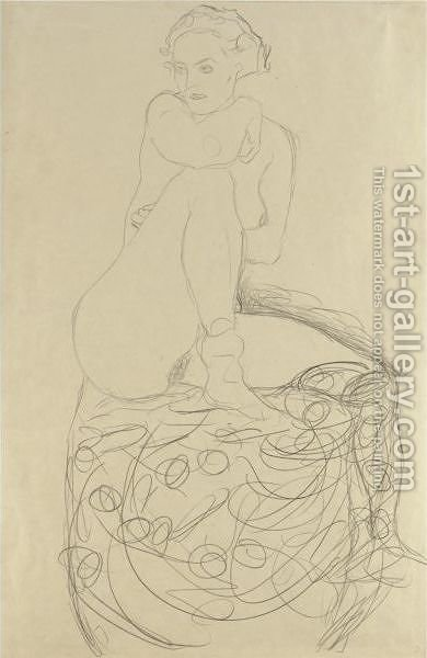 Mit Aufgestelltem Rechten Bein Sitzender Akt (Seated Nude With Raised Right Leg) by Gustav Klimt - Reproduction Oil Painting