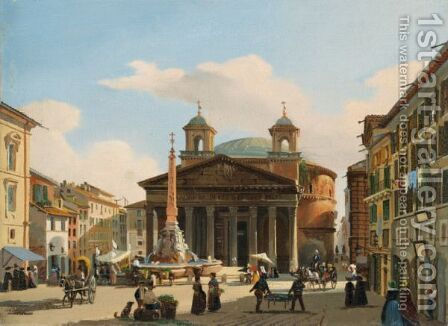 Vue Du Pantheon A Rome by Guiseppe Canella - Reproduction Oil Painting