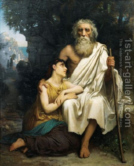 Oedipe Et Antigone by Camille Felix Bellanger - Reproduction Oil Painting