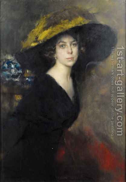 Portrait De Femme by Albrogio Alciati - Reproduction Oil Painting