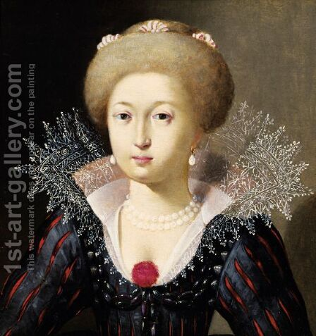 Portrait Of A Young Woman With A Collarette by Ecole Francaise - Reproduction Oil Painting