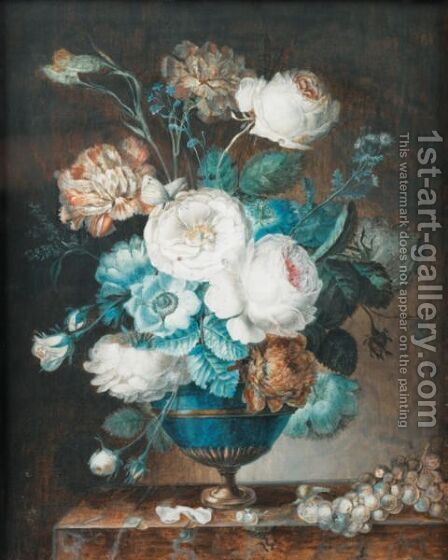Bouquets Of Flowers In A Vase On A Marble Ledge by (after) Prevost - Reproduction Oil Painting