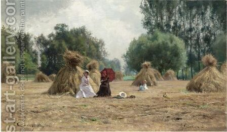 In The Hay Field by Iosif Evstafevich Krachkovsky - Reproduction Oil Painting