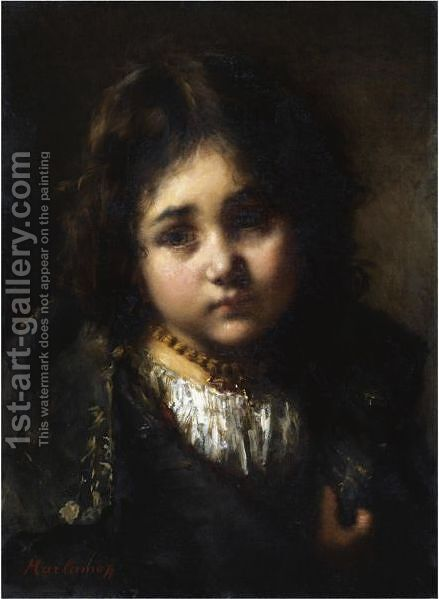 Portrait Of A Young Girl 5 by Alexei Alexeivich Harlamoff - Reproduction Oil Painting