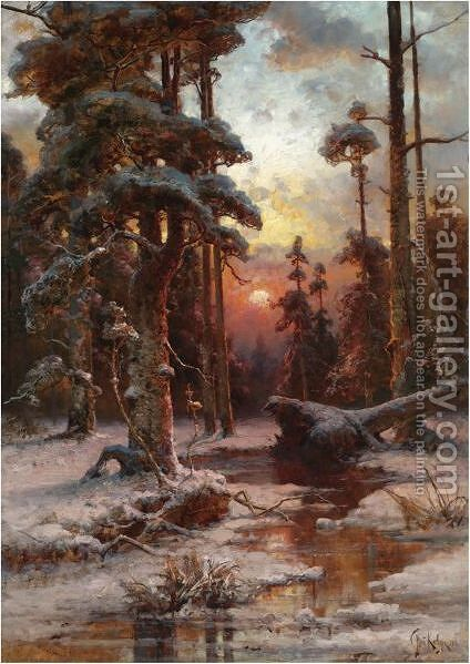 Winter Sun by (after) Iulii Iul'evich (Julius) Klever - Reproduction Oil Painting