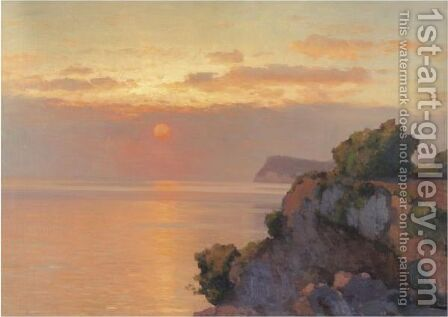 Sunset Over The Sea by Aleksei Vasilievich Hanzen - Reproduction Oil Painting