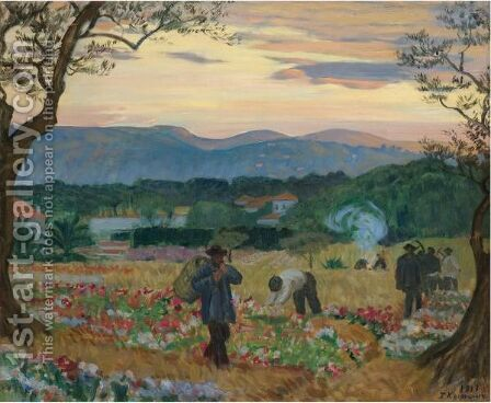 The Flower Harvest by Boris Kustodiev - Reproduction Oil Painting
