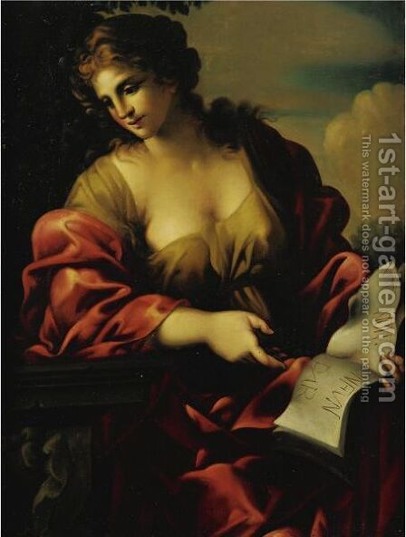A Sibyl 2 by (after) Giovanni Francesco Romanelli - Reproduction Oil Painting