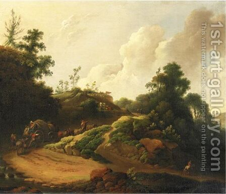 Waggoners On A Road by (after) Philip James De Loutherbourg - Reproduction Oil Painting