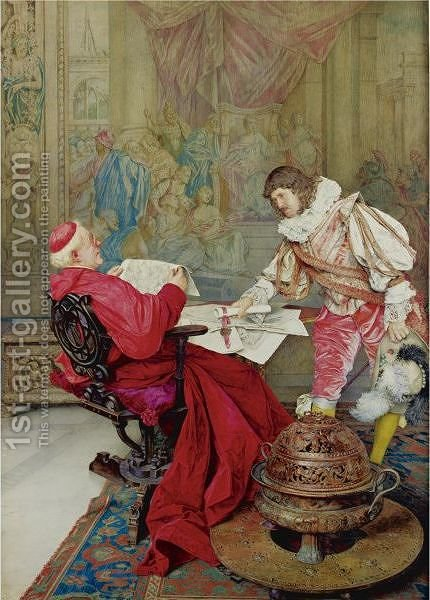 A Musketeer Presenting A Petition For The Pope To The Cardinal Secretary Of State by Guiseppe Signorini - Reproduction Oil Painting