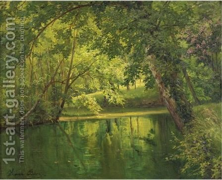Woodland Pond by Henri Biva - Reproduction Oil Painting