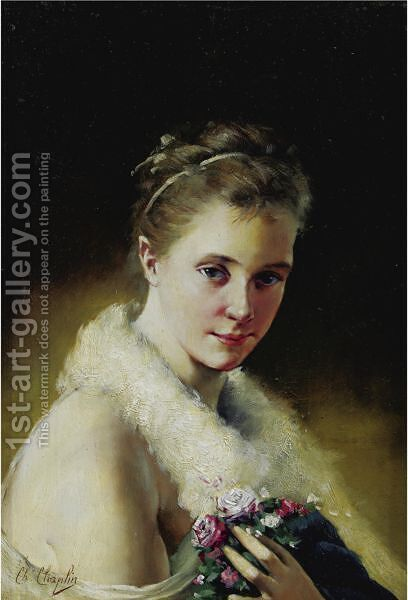 Portrait Of A Girl by Charles Chaplin - Reproduction Oil Painting