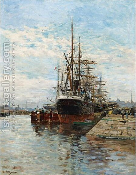Tall Ships In A Harbor by Edmond Marie Petitjean - Reproduction Oil Painting