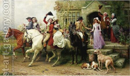 A Lassie And Her Laddie by Alfred William Strutt - Reproduction Oil Painting