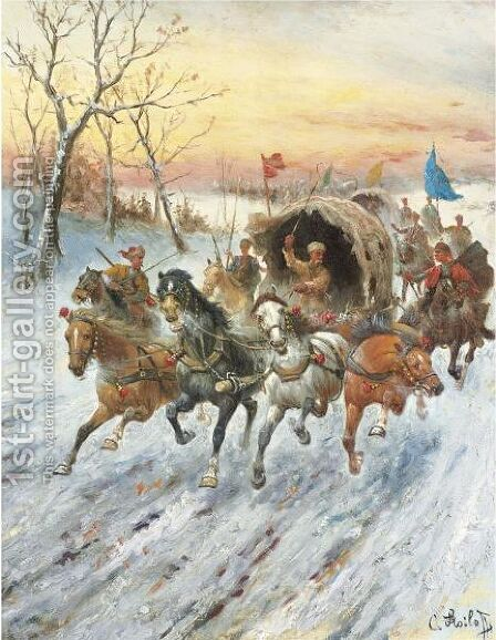 Convoy Of Gold In Siberia by Adolf Baumgartner-Stoiloff - Reproduction Oil Painting