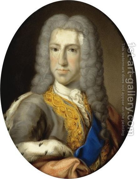 Portrait Of Prince James Francis Edward Stuart, The 'Old Pretender' (1688-1765) by Italian School - Reproduction Oil Painting
