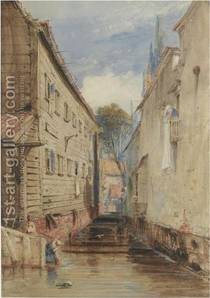 A Canal Between Old Buildings At Rotterdam by James Holland - Reproduction Oil Painting