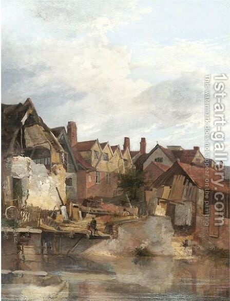 Old Houses By The Wensum by James Stark - Reproduction Oil Painting