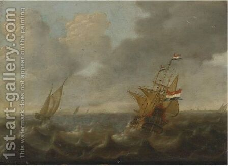 Dutch Ships On A Rough Sea by Jan Abrahamsz. Beerstraten - Reproduction Oil Painting