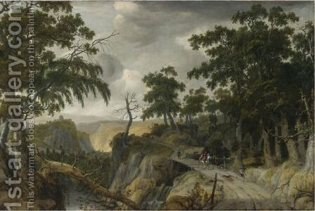 A Rocky Wooded River Landscape With Travelers Along A Path by Jan Looten - Reproduction Oil Painting