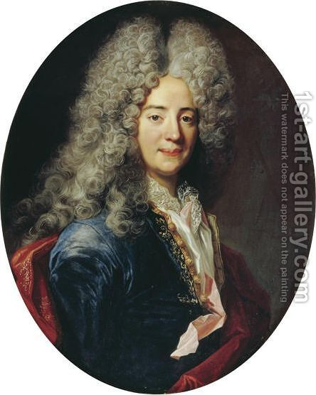 Portrait Of A Man, Half Length, Wearing A Blue Tunic by (after) Nicolas De Largillierre - Reproduction Oil Painting