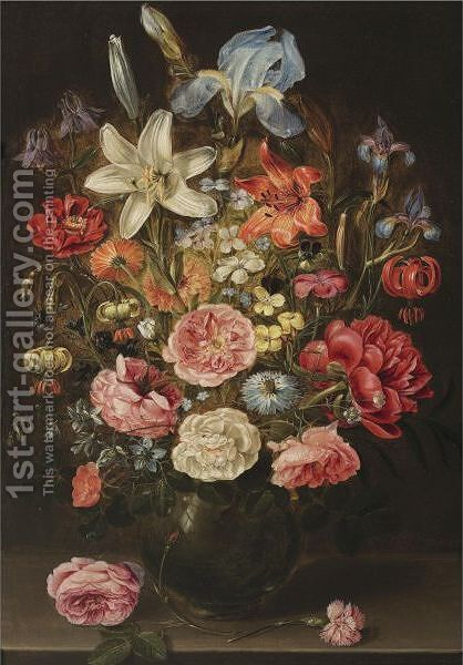A Still Life Of Lilies, Roses, Iris, Pansies, Columbine, Love-In-A-Mist, Larkspur And Other Flowers In A Glass Vase by Clara Peeters - Reproduction Oil Painting