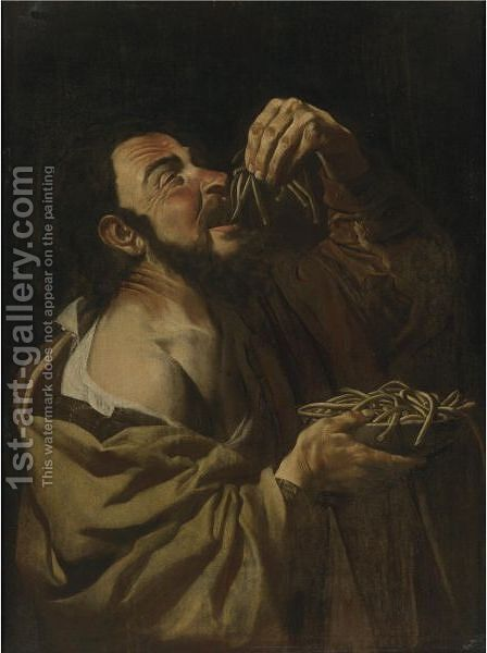 The Spaghetti Eater by Italian School - Reproduction Oil Painting