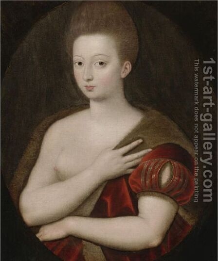 Portrait Of Gabrielle D'Estree by (after) Fontainebleau - Reproduction Oil Painting