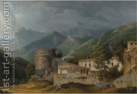 Italian Landscape With A Village At The A Foot Of Mountain Range by Alexandre-Hyacinthe Dunouy - Reproduction Oil Painting