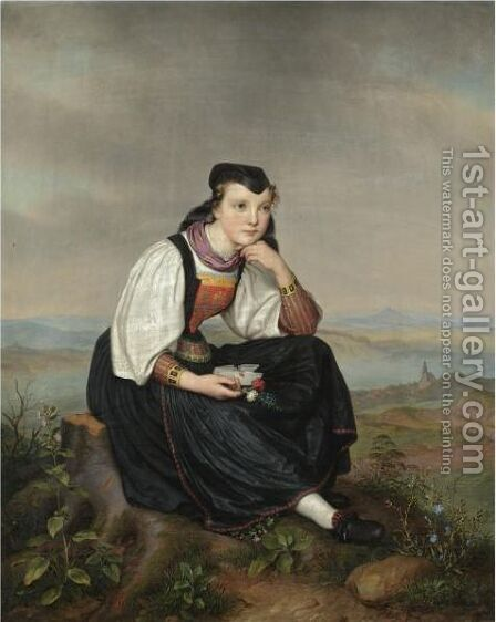 Girl From Hessen In Traditional Dress by August von der Embde - Reproduction Oil Painting