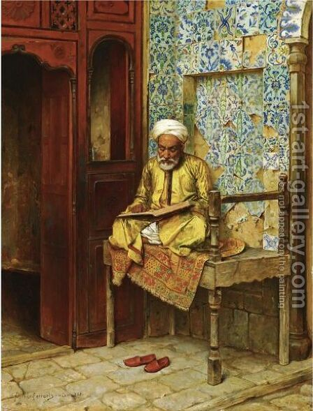 The Learned Man Of Cairo by Arthur von Ferraris - Reproduction Oil Painting