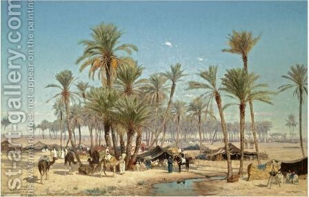 The Oasis, Biskra by Edmund Berninger - Reproduction Oil Painting