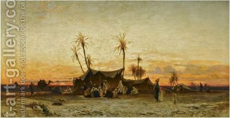 An Arab Encampment At Sunset by Hermann David Solomon Corrodi - Reproduction Oil Painting