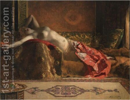 Reclining Odalisque by Benjamin Jean Joseph Constant - Reproduction Oil Painting