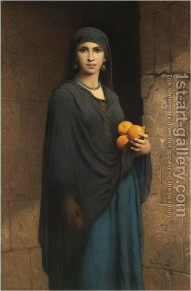 Woman With Oranges by Charles Landelle - Reproduction Oil Painting