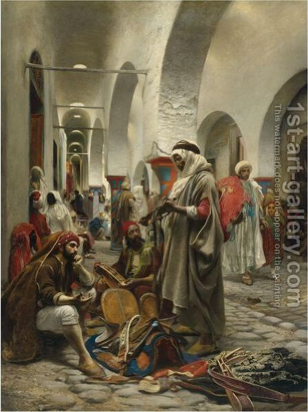 The Souk Des Etoffes, Tunis by Anton Robert Leinweber - Reproduction Oil Painting