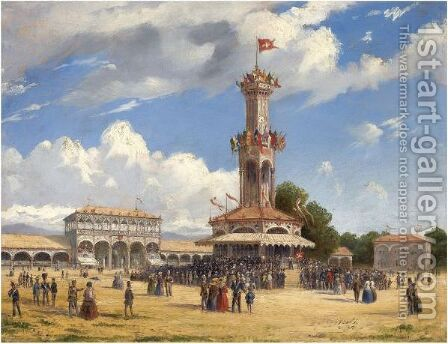 The Tir Federal, Geneva by Carlo Bossoli - Reproduction Oil Painting